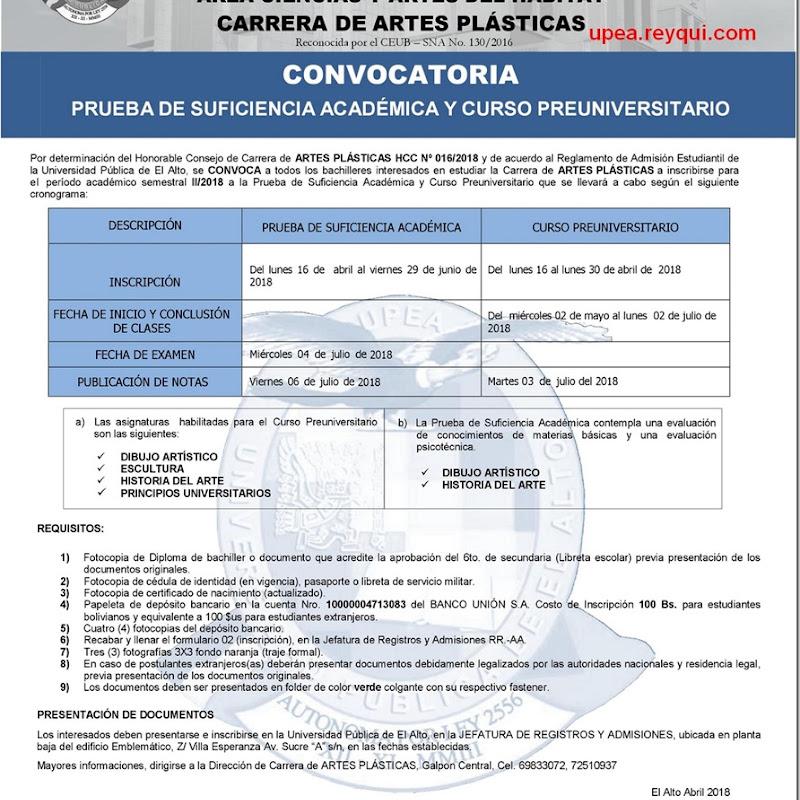 Artes Plásticas UPEA II/2018: Convocatoria para el Curso Preuniversitario y Prueba de Suficiencia Académica