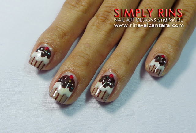Chocolate Cupcake Nail Art Design 01