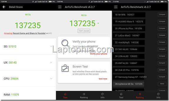 Benchmark AnTuTu v6 Xiaomi Mi 5S
