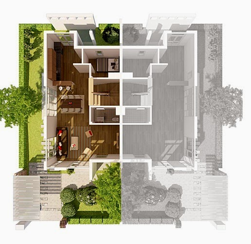 Biệt thự song lập Ecopark - mặt bằng tầng 1