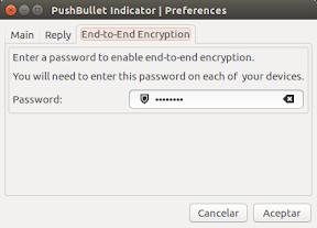 Configuración de cifrado con Pushbullet Indicator