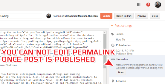 you can't edit permalink in blogger for a published post