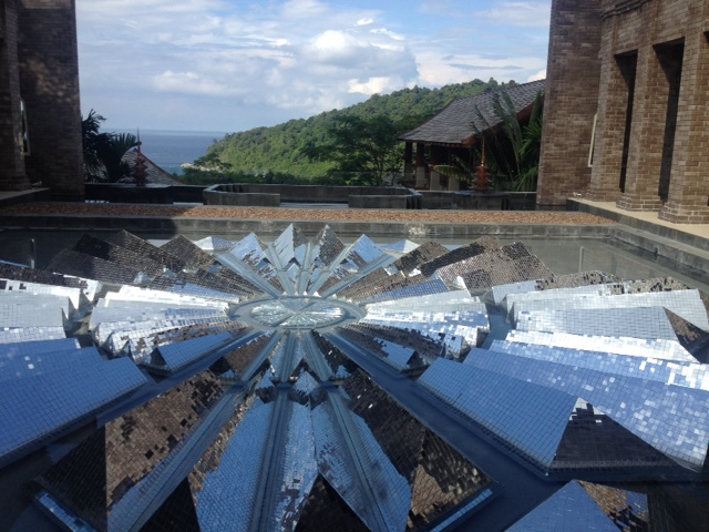 A mirrored glass snowflake detail reflects the sun at the Avista Hideaway Resort