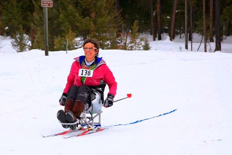 Liz Ann Kudrna in her sit-ski.