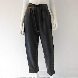 Yves Saint Laurent Black Leather Trousers