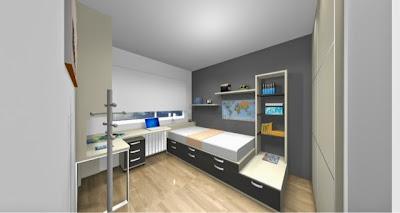 Dibujo 3d de dormitorio juvenil hecho a medida
