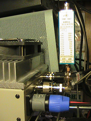 The XDM-1600 noise source                           is attached directly to the antenna connector                           to measure receiver sensitivity and noise                           figure on the Down East Microwave L432-28HP                           transverter.