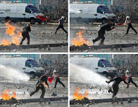 A combination of pictures showing a protester as he catches fire before being showered from a water cannon