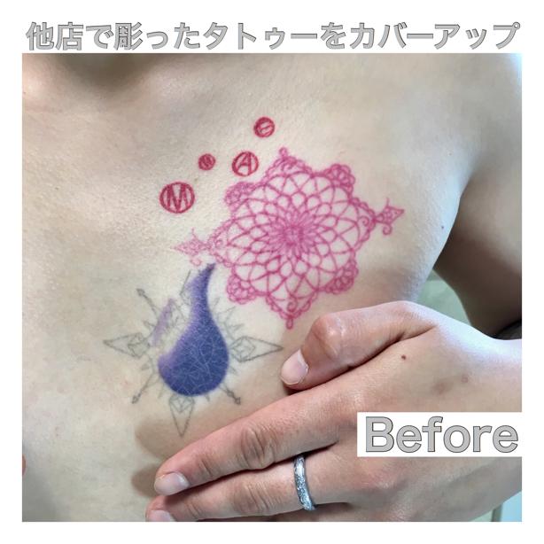 刺青画像、ワンポイントタトゥーを刺青除去しないでタトゥーを消す方法、カバーアップのタトゥー画像。悪戯彫り、イタズラ彫り、入れ墨、イレズミ。
