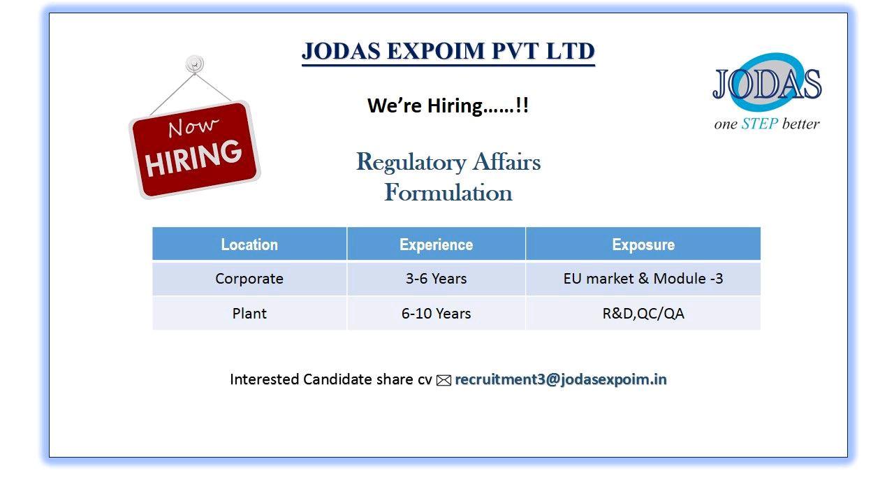 Opening For Regulatory Affairs At Jodas Expoim ltd