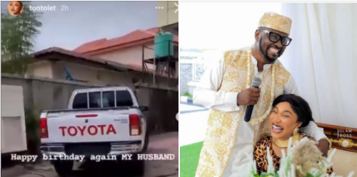 Tonto Dikeh's man, Prince Kpokpogri takes delivery of car she bought him on his birthday (video)