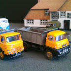 Two tippers from my fictitious haulage fleet LEY7 Leyland LAD & BMC1 BMC Mastiff G type cab, CH1 chassi on both with appropriate wheel sets, 1 body was scratchbuiolt the other is RTI's B13 tipper body.