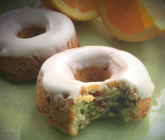 Cranberry Nut Donuts with Orange Glaze