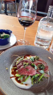 From the Renata Grill, Beef Tagliata with radish, nasturtium pesto, and turnip puree and side of sauteed turnips and greens with chili and lemon