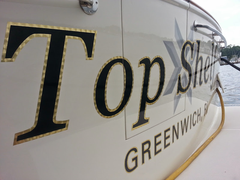 Gold leaf boat lettering - Top Shelf