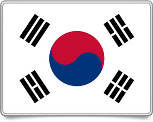 South Korean framed flag icons with box shadow