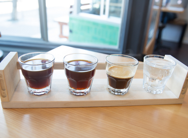 photo of A coffee flight of single origin Ethiopian Shaye Ayra, served three ways