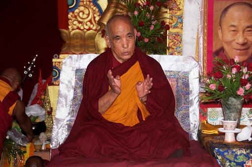 Jagntse Chöje Lobsang Tenzin Rinpoche at Lama Zopa Rinpoche's long life puja, Maitreya Project grounds, Bodhgaya, India, January 2012. Photo by Bill Kane.