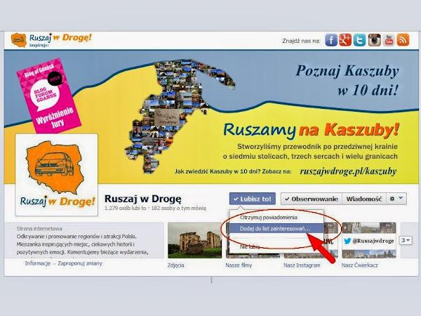 Ruszaj w Drogę na Facebooku - Dodaj stronę do listy zainteresowań