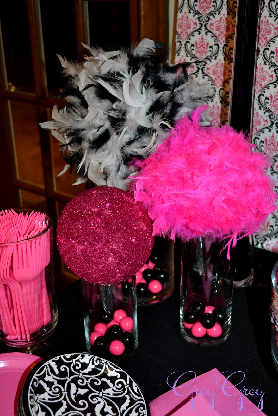 Greygrey designs my parties hot pink glamorous casino