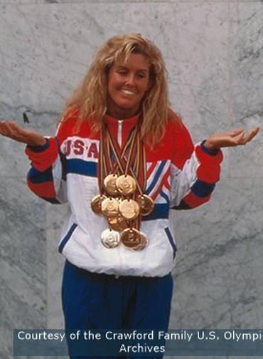 Trischa Zorn com as medalhas da Paralimpíada  Barcelona 1992