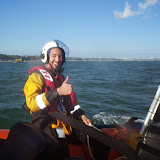 Volunteer crew member Dave Bursey gives the thumbs up!  31 August 2014.  Photo credit: Poole RNLI
