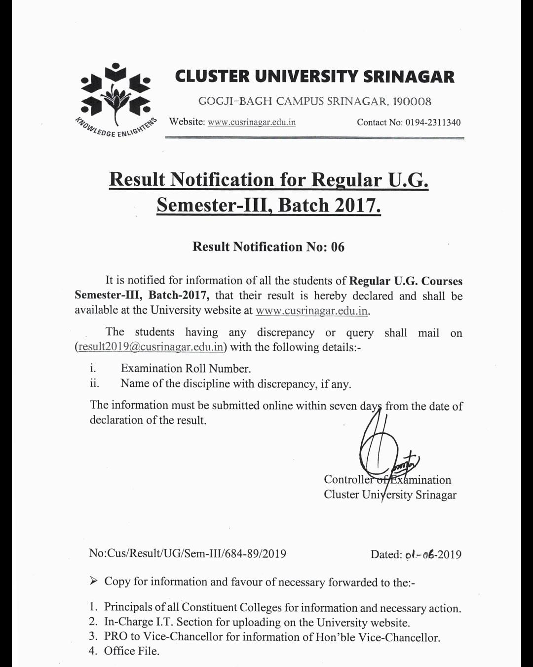 Cluster University Srinagar | Result Notification for