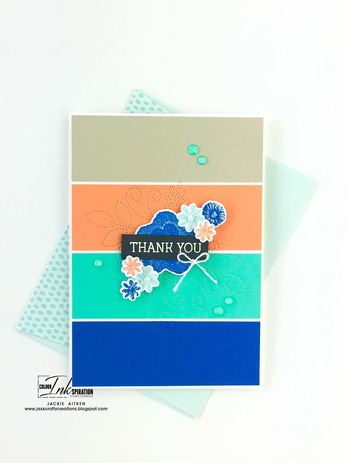 Artisan Design Team 2019, Colour INKspiration Blog Challenge, Needle & Thread Stamp Set, Stampin' Up!, Jaxx Crafty Creations, Colour Challenge, CAS cards, Thank You Card,