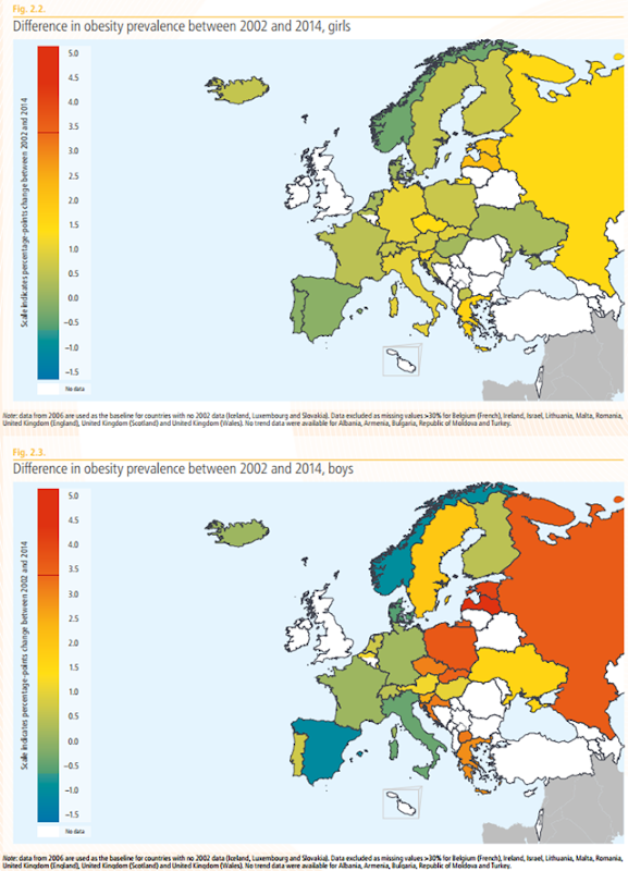 Difference in obesity prevalence in Europe between 2002 and 2014, for girls (above) and boys (below). Graphic: WHO