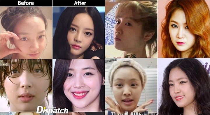 Dispatch releases list of idols before/after makeup photos