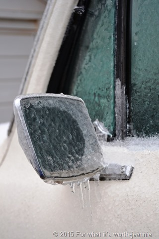vintage truck mirror in ice