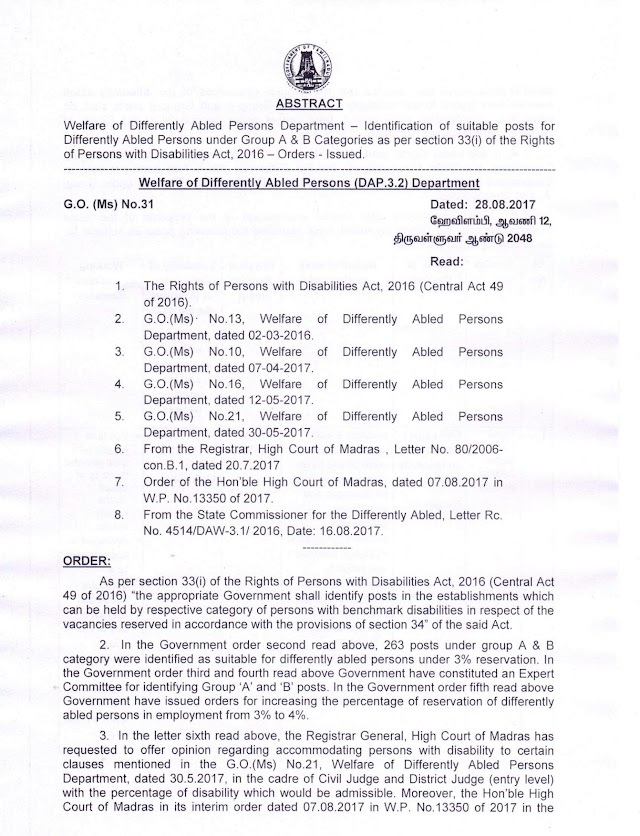 G.O.(Ms) No.31 Dt: August 28, 2017 Welfare of Differently Abled Persons Department – Identification of suitable posts for Differently Abled Persons under Group A and B Categories as per section 33(i) of the Rights of Persons with Disabilities Act, 2016 – Orders - Issued.