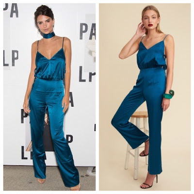Emily Ratajkowski at LPA Launch on August 11 in Blue Silk Jumpsuit