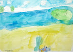 Landscape painting at the lake during Summer Camp by Jacqueline