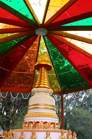 Kadampa Stupa and rainbow roof at Kachoe Dechen Ling,  Aptos, CA, USA.
