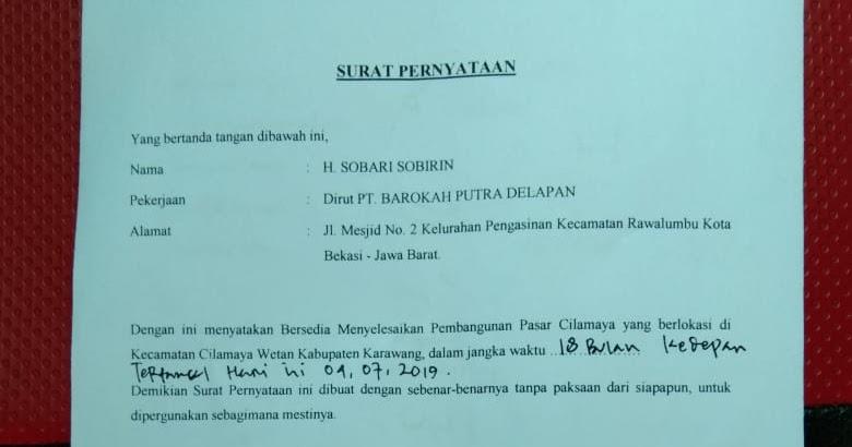 Surat Pernyataan Kesanggupan Menyelesaikan Pekerjaan ...