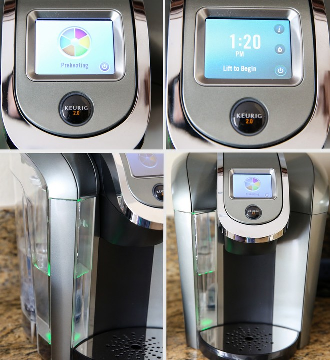 a photo collage of the different keurig 2.0 features