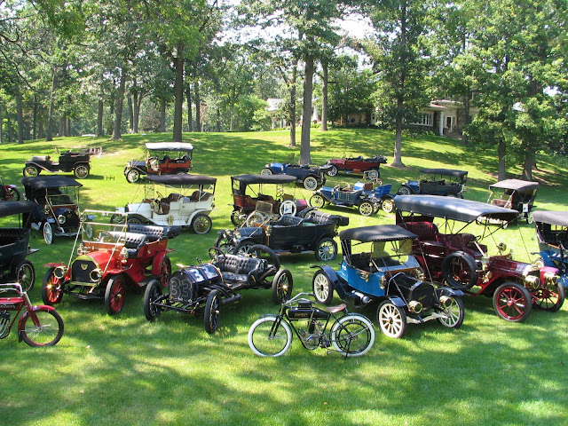 Flanders 100 anniversary celebration. Photo on the lawn of car club vehicles that motored to Flanders Home, on a celebration tour.