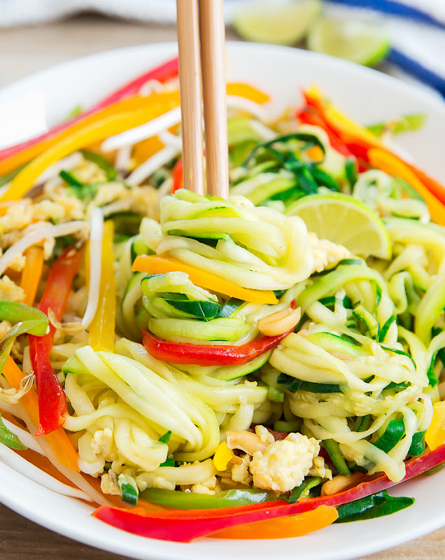 photo of Pad Thai Zucchini Noodles twirled on chopsticks