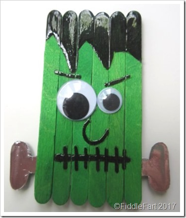 Halloween crafts Frankenstein Popsicle Fridge Magnet