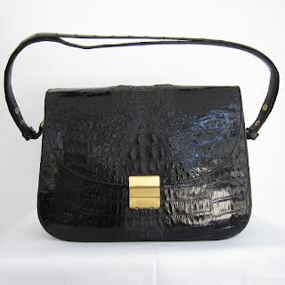 Vintage Crocodile Hard-Shell Shoulder Bag