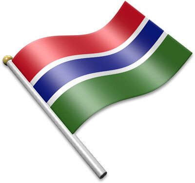 The Gambian flag on a flagpole clipart image