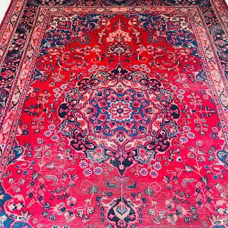 Wool Floral Heriz Area Rug