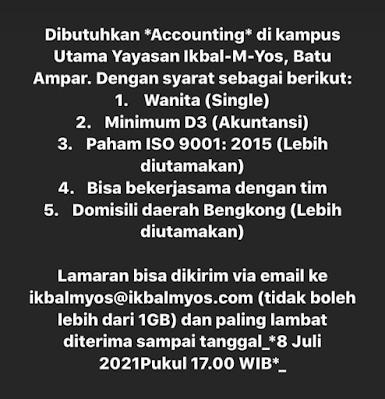 Dibutuhkan Accounting di Ikbal-M-Yos