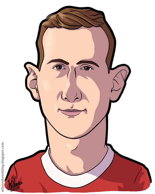 Cartoon caricature of Jan Oblak.
