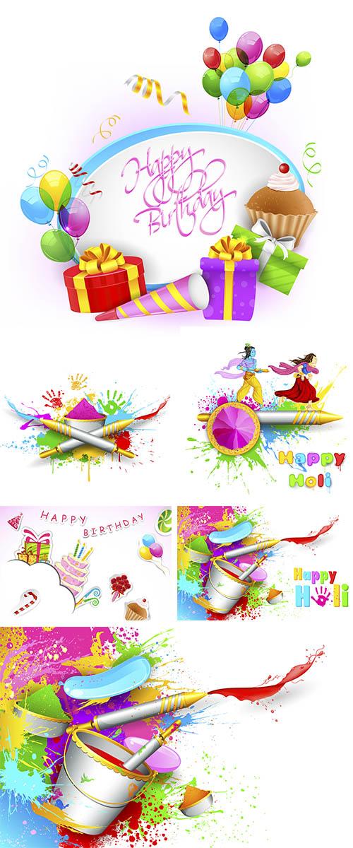 Stock: Happy Birthday and Holi