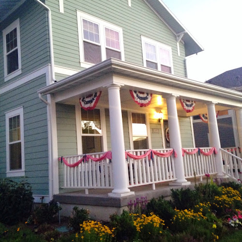 White porch, red white and blue porch, 4th of July decorations
