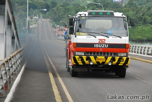 Smoke Belching Truck crossing the San Juanico Bridge