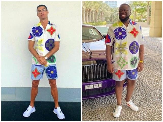 #Ronaldo Or #Hushpuppi, Who Rocks This Luis Vuitton Dress Better? (PHOTO)