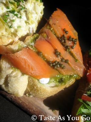 Bruschetta with Smoked Salmon and Pesto at Postino Arcadia in Phoenix, AZ - Photo by Michelle Judd of Taste As You Go